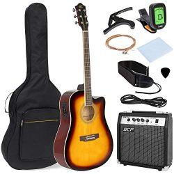 Best Choice Products 41in Full Size All-Wood Acoustic Electric Cutaway Guitar Musical Instrument ...