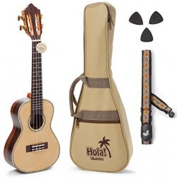 Concert Ukulele Professional Series by Hola! Music (Model HM-424SSR+), Bundle Includes: 24 Inch  ...