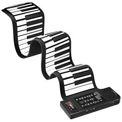 Lujex Upgrade Portable 61 Keys Roll-Up Flexible Electronic Piano Keyboard with Full Soft Respons ...