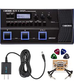 BOSS GT-1 Guitar Multi-Effects Processor Bundle with BOSS Tone Studio, Blucoil 9V DC Power Suppl ...