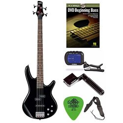 Ibanez GSR200 GIO Electric Bass Guitar (Black) + Free DVD, Guitar Pics, Strap, String Winder, an ...