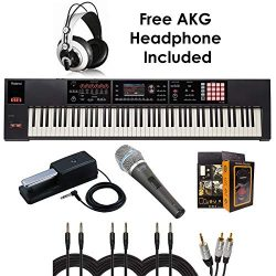 Roland PKG FA-08 88-key Weighted-action Music Workstation – Package Bundle with Roland DP-10 Dam ...
