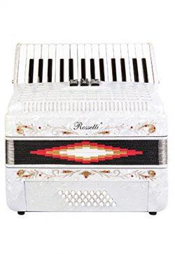 Rossetti Piano Accordion 32 Bass 30 Piano Keys 3 Switches White
