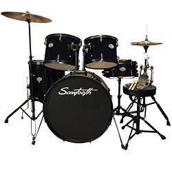 Rise by Sawtooth Full Size Student Drum Set with Hardware and Cymbals, Pitch Black
