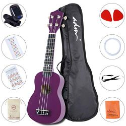 ADM Beginner Ukulele 21 Inch Soprano Kids Starter Pack Bundle with Gig bag Tuner Fingerboard Sti ...