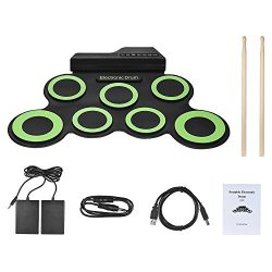 Roll Up Drum, Electronic Drum Pads Foldable Digital Electronic Drum with 2 Foot Pedals and Drum  ...