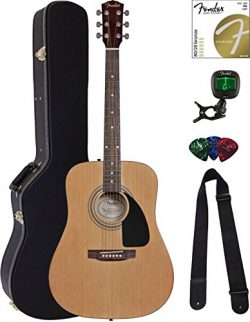 Fender FA-100 Dreadnought Acoustic Guitar – Natural Bundle with Hard Case, Tuner, Strings, ...