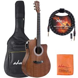 ADM Full Size Acoustic Electric Cutaway Dreadnought Guitar 41 Inch Handmade Solid Wood Guitar wi ...