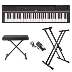 Yamaha P121B 73 Weighted Keys Digital Piano (Black) with Knox Gear Piano Bench, Stand and Sustai ...