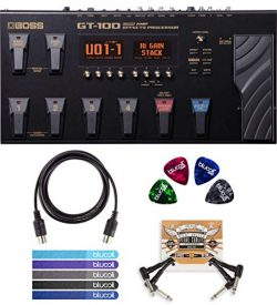 BOSS GT-100 Guitar Multi-Effects Pedal Bundle with Blucoil 5-Ft MIDI Cable, Pedal Patch Cables ( ...