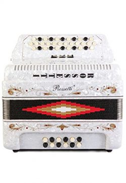 Rossetti 34 Button Accordion 12 Bass 3 Switches FBE White