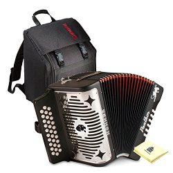 Hohner Panther G/C/F 3-Row Diatonic Accordion Bundle (Diatonic Accordion + Gig Bag + Zorro Polis ...
