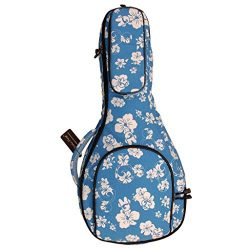 "MUSIC FIRST Original Design 15mm Thick Padded Hawaii Style ""Blue and White Plumeria"" Cotton Canv ..."