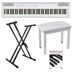 Yamaha P125WH White 88-note Weighted Action Digital Piano with Knox Stand, Piano Bench and Beggi ...