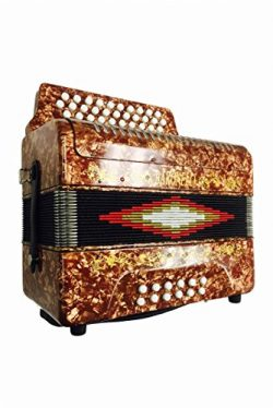 Full Size 31 Button Gold Diatonic Accordion Key of SOL G,C,F, with Hardshell Case and Back Strap ...
