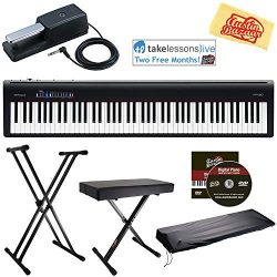 Roland FP-30 Digital Piano – Black Bundle with Roland DP-10 Damper Pedal, Adjustable Stand ...