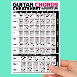 Guitar Chords Cheatsheet Laminated Pocket Reference • Best Music Stuff (LARGE – 6-in x 9-in)