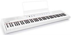 Alesis Recital White 88-Key Beginner Digital Piano with Full-Size Semi-Weighted Keys and Power S ...