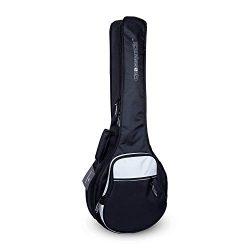 Crossrock 10mm Padding Gig Bag for Open Back & Resonator Banjos, Backpack Straps, Silk Grey( ...