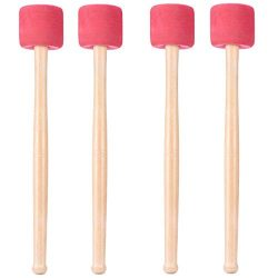 Buytra 4 Pack Bass Drum Mallets Sticks Percussion Mallets with EVA Foam Head and White Oak Wood  ...