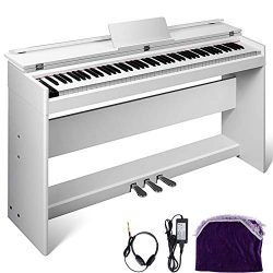 Happybuy White Digital Piano 88 Keys Electric Piano Keyboard with 3-Pedal Board Music Stand Flip ...
