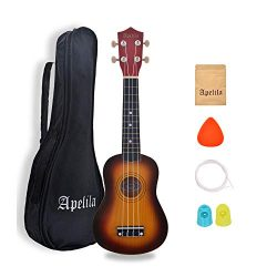 Apelila 21 inch Soprano Ukulele Hawaiian Acoustic Mini Guitar Musical Instrument with Bag, Pick, ...