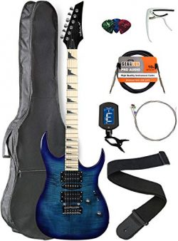 Vault RG1-E Transparent Blue Electric Guitar with Maple Neck Bundle with Gig Bag, Strap, Tuner,  ...
