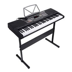 LAGRIMA 61 Key Portable Electric Piano Keyboard,W/Music Stand, H Stand, Power Supply, Microphone ...
