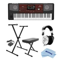 Korg Pa700 61 Keys Velocity Sensitive Professional Arranger Keyboard – Bundle With On-Stag ...