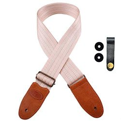 Guitar Strap with Suede Leather Ends for Electric Guitar, Acoustic Guitar and Bass, Includes 2 S ...
