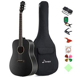 Donner DAG-1B Black Beginner Acoustic Guitar Full Size, 41″ Dreadnought Guitar Bundle with ...