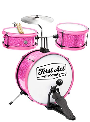 first act discovery drum set seat pink sparkle musicalbin musicalbin. Black Bedroom Furniture Sets. Home Design Ideas
