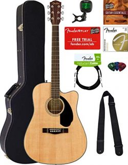 Fender CD-60SCE Dreadnought Acoustic-Electric Guitar – Natural Bundle with Hard Case, Cabl ...