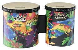 Remo KD-5400-01 Kids Percussion Bongo Drum – Fabric Rain Forest, 5″-6″