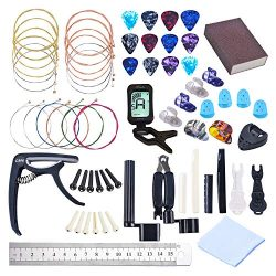 64 PCS Guitar Accessories Kit, Guitar Strings Changing Kit, Guitar Tool Kit Including Acoustic G ...