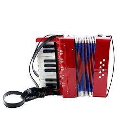Andoer 17-Key 8 Bass Mini Small Accordion Kids Children Educational Musical Instrument Rhythm Ba ...