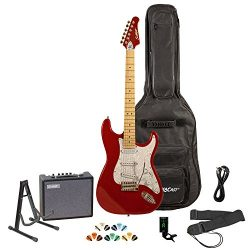 Sawtooth Candy Apple Red Electric Guitar w/Pearl White Pickguard – Includes: Accessories,  ...