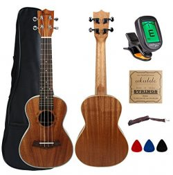 Kulana Deluxe Concert Ukulele, Mahogany Wood with Binding and Aquila Strings + Gig Bag