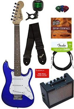 Squier by Fender Mini Strat Electric Guitar – Imperial Blue Bundle with Amplifier, Instrum ...