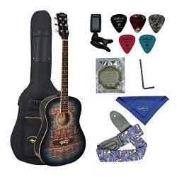Bailando 38 Inch Acoustic Guitar Cutaway Mahogany, 6 Steel Strings, Blueburst