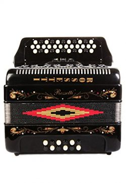 Rossetti 34 Button Accordion 12 Bass 3 Switches GCF Black