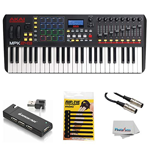 Akai Professional Compact Keyboard Controller (49-Key) with 4-Port USB 2.0 Hub + MIDI Cable Pack ...