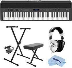 Roland FP-90 88 Keys SuperNATURAL Modeling Portable Digital Piano, Black – Bundle With On- ...
