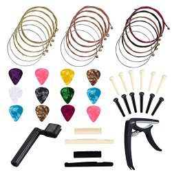 Anvin 48 Pcs Guitar Accessory Kit Acoustic Guitar Changing Tool Includes Guitar Acoustic Strings ...