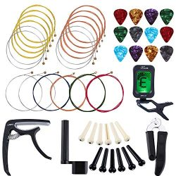 Auihiay 46 PCS Guitar Strings Changing Kit Guitar Tool Kit Including Guitar Strings Guitar Tuner ...