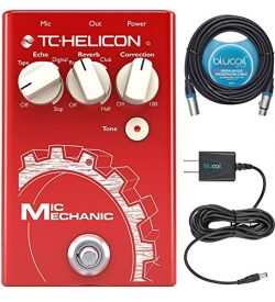 TC Helicon Mic Mechanic 2 Vocal Effects Pedal Bundle with Blucoil Slim 9V Power Supply AC Adapte ...