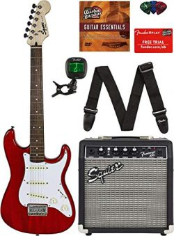 Squier by Fender Short Scale Stratocaster – Transparent Red Bundle with Frontman 10G Amp,  ...