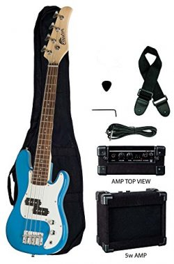 Raptor 3/4 Size 38 Inch Kids Child 4 String Electric P Bass Package – BLUE with 5W Amp, Gi ...
