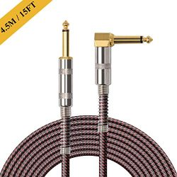 OTraki 15FT Instrument Cable Electric Guitar Bass Cables 4/1 inch Straight to Right Angle 6.35mm ...
