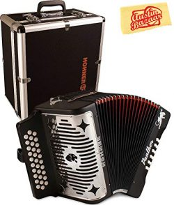 Hohner Panther Diatonic Accordion – Keys G/C/F Bundle with Hard Case and Austin Bazaar Pol ...